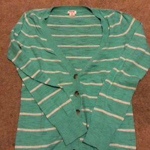 Mint sweater with grey stripes